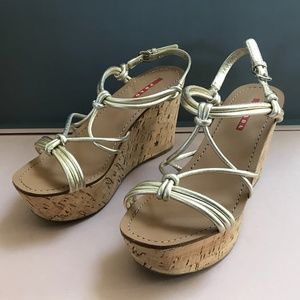 Prada Strappy Knot Cork Wedge Sandal